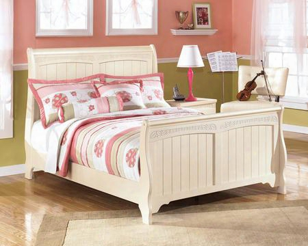 Cottage Retreat Collection B213-84/87/88 Full Size Sleigh Bed With Plank Detailing And Graphic Leaf Design In Cream Cottage