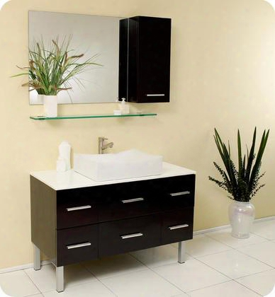 "Distante Fvn6123es 43"" Modern Bathroom Vanity With Mirror Glass Shelf Ands Ide"