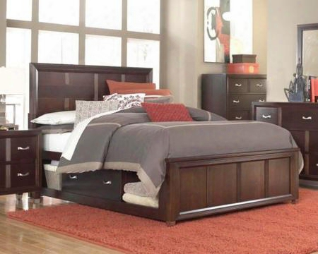 Eastlake 2 Collection 4 Piece Bedroom Set With King Size Storage Panel Bed + 1 Nightstands + Dresser + Mirror: