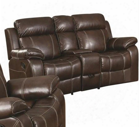 "Myleene 603022 76"" Motion Loveseat With Built-in Console Cup Holders Storage Compartment Pillow Top Arms And Bonded Leather Upholstery In Coffee"
