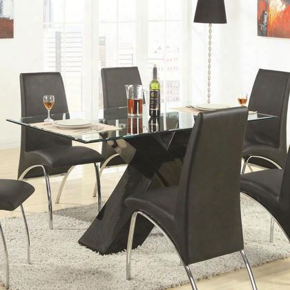 "Ophelia 120811 36"" Contemporary Beveled Edge Glass Top Dining Table With Black X Pedestal In Black"