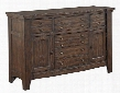 "Attic Retreat 4990-513 55"" Wide Server with 5 Drawers 2 Doors Adjustable Shelves and Removable Silverware Tray in Weathered Mink"