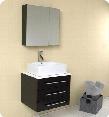 "Modella Collection FVN6185ES 24"" Modern Bathroom Vanity with Medicine Cabinet Marble Countertop and Ceramic Vessel"