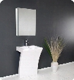 "Quadro Collection FVN5024WH 22"" Modern Bathroom Vanity with White Pedestal Sink and Medicine"