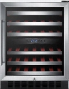 "SWC530LBISTCSS 24"" Freestanding or Built In Dual Zone Wine Cooler with 46 Bottle Capacity Digital Thermostat Automatic Defrost Slide-Out Wooden Shelving and"
