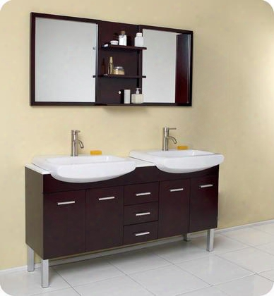"Vetta Fvn6193es 60"" Modern Double Sink Bathroom Vanity With Mirror 4 Soft Closing Doors And Marble"