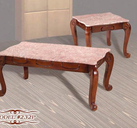 232pceset Mahogany Finish Pink Marble Coffee Table + 2 End