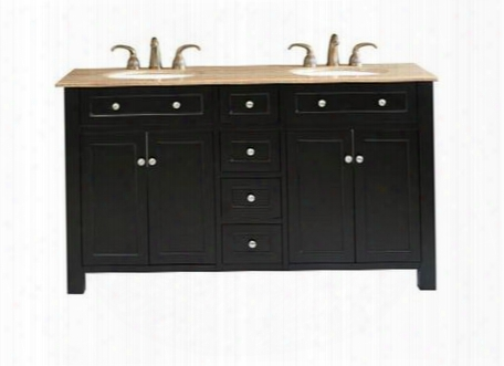 "603210 62"" Double Sink Vanity With Wood Cabinet Soft Close Hinges And In"