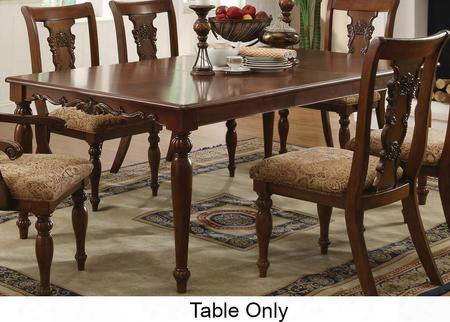 "Addison 103511 60"" Traditional Extension Dining Table With Birch Veneers Smooth Edges Arrow Feet And Scroll Design In Cherry"