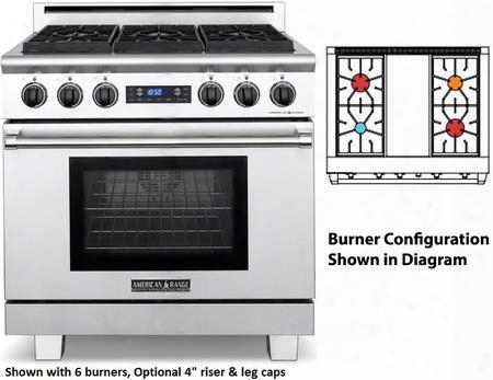 "Arr-364gddfl 36"" Medallion Series Dual Fuel Range With 5.3 Cu. Ft.o Ven Capacity 4 Sealed Burners 3 Size Burners 11"" Griddle Self-cleaning And Programmable"