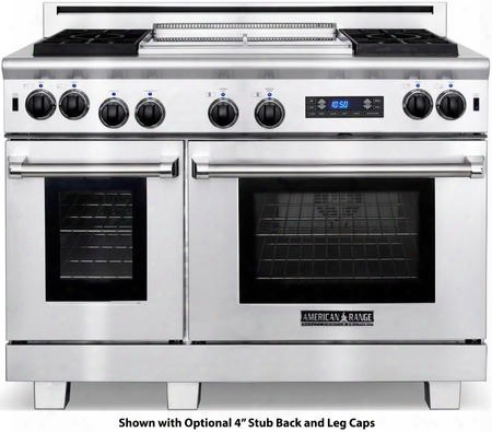 "Arr-4842gddfl 48"" Medallion Dual Fuel Range With 4.7 Cu. Ft. 30"" Oven Capacity 2.7 Cu. Ft. 18"" Oven Capacity 4 Sealed Burners 22"" Griddle In Stainless"