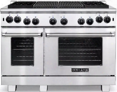 "Arr-484x2gr-l 48"" Heritage Series Liquid Propane Range With 4.4 Cu. Ft. 30"" Oven Capacity 2.4 Cu. Ft. 18"" Oven Capacity 22"" Grill 4 Sealed Burners And"