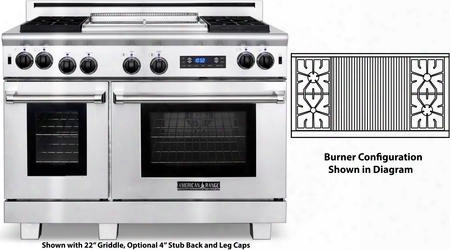 "Arr-484x2grdfl 48"" Medallion Dual Fuel Range With 4.7 Cu. Ft. 30"" Oven Capacity 2.7 Cu. Ft. 18"" Oven Capacity 4 Sealed Burners 22"" Grill And Ceramic"