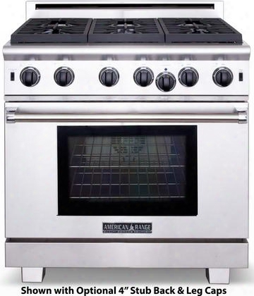 "Arrob-636l 36"" Performer Series Gas Range With 5.3 Cu. Ft. Oven Capacity 6 Open Burners 3 Size Burners Ceramic Infrared Broiler And Convection Fan In"