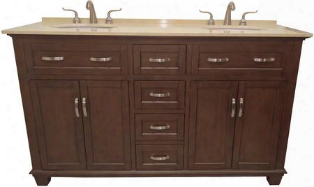 "Bolton 1017c 60"" Double Bathroom Vanity With Mahogany Cabinet Cream Marble Top Bisque Porcelain Sinks 4 Doors With 1 Shelf In"