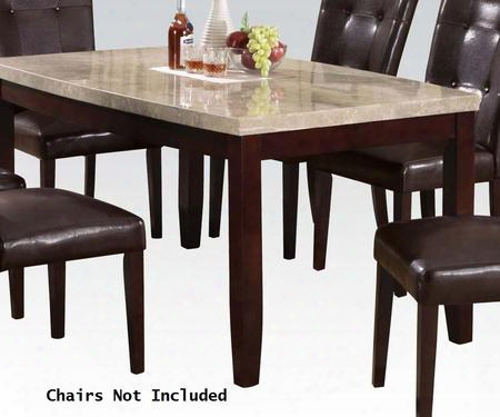 "Britney Collection 17060 64"" Dining Table With White Marble Top Tapered Legs And Medium-density Fiberboard (mdf) In Walnut"