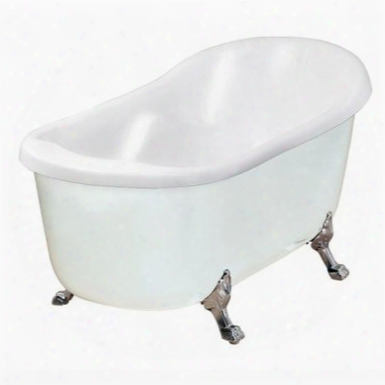 """Bt686-ii 67"""" Acrylic Slipper Claw Foot Tub In White With Tub Mount Faucet Adjustable Feet For"""