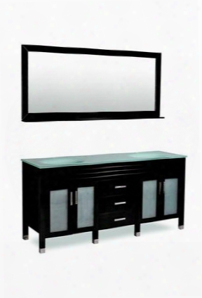 Dm1d3-72/blk Belmont D Cor Dayton Double Sink Bathroom Vanity With Tempered Glass Blocked Feet And Simple Pulls In