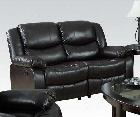 """Fullerton 50561 62"""" Motion Loveseat With Pillow Top Arms Recline Mechanism Split Back Cushion And Bonded Leather Match Upholstry In Espresso"""
