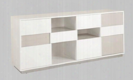 Gina-buf Gina Collecttion Gloss White/gray Contemporary 2 Tone Buffet With Open