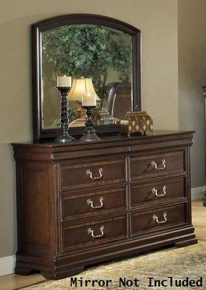 "Hennessy Collection 19455 62"" Dresser With 6 Drawers Side Metal Glide Drawer Dovetail French Front And English Back In Brown Cherry"