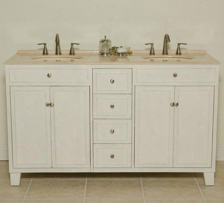 "Janet B3584 60"" Double Vanity With Two Bisque Sinks Four Doors One Shelf 1"" Attached Backsplash Back Cut Out For Plumbing In Antique"