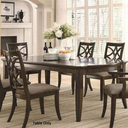 "Meredith Collection 103531 67.25"" - 95.25"" Dining Table With Leaf Extensions Curved Edge Selected Hardwoods And Birch Veneer Materials In Espresso"