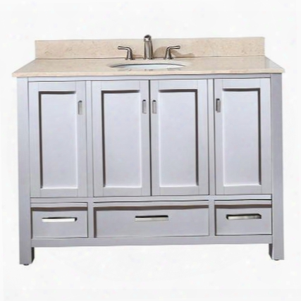 Modero-vs48-wt-b Avanity Modero 48 In. Vanity With Galala Beige Marble Top And Sink In White