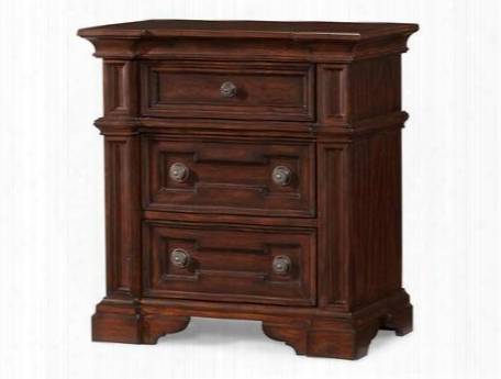 "San Marcos 872670 30"" Nightstand With 3 Frame Drawers Circular Hardware Pulls Bracket Feet Pine Solids And Cherry Veneers Paint Shade In Cherry"