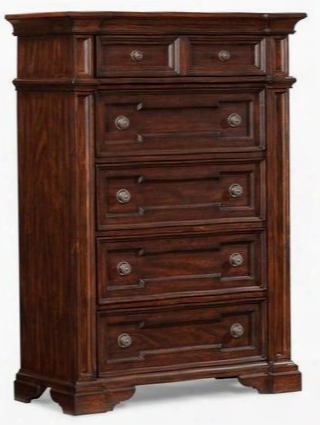 "San Marcos 872681 40"" Chest With 5 Frame Drawers Circular Hardware Pulls Bracket Feet Pine Solids And Cherry Veneers Paint Shade In Cherry"