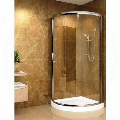 "Sd908-iii 36"" X 36"" Round Shower Enclosure With Acrylic Shower Base In Chrome"