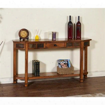 "Sedona Collection 2224ro 60"" Entry Console With Natural Slate Accents Bottom Shelf And Drawer In Rustic Oak"