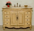 "1080A Hillsdale 48"" Bathroom Vanity With Cream Marble Top Bisque Porcelain Sink Eight Functional Drawers Two Cabinet Doors and Shelf Inside in"