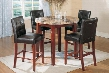 723TCSET Transitional Round Counter Height Table with Marble Top + 4 Contemporary Bar