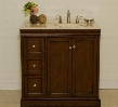 "A0701S Kellas 36"" Bathroom Vanity with Marble Top Construction Bisque Porcelain Sink and Two Doors with One Shelf in Mahogany (Faucet Not"