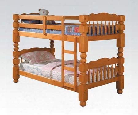 02575c Benji Twin Over Twin Bunk Bed With Climb Up Ladder Bun Feet Solid Wood And Wood Veneer In Honey Oak