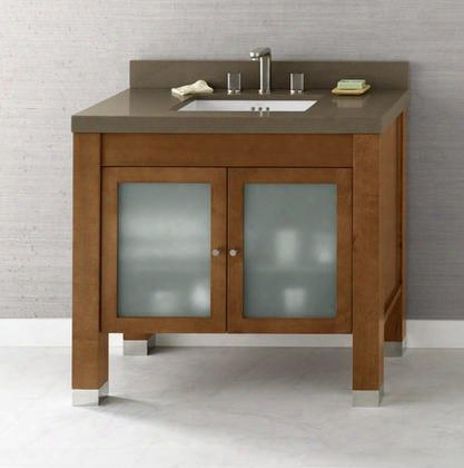 "032536-1-f08 Devon 36"" Wood Vanity Cabinet With Double Frosted Glass Door And Adjustable"