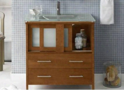 "035823-f08 Minerva 23"" Wood Vanity Cabinet With 2 Frost Glass Doors And 2 Bottom Drawers:"