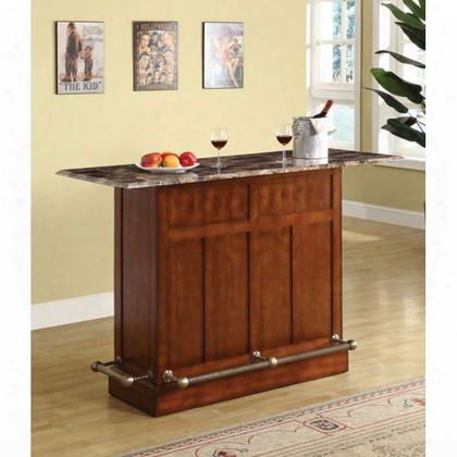 "60028 Upton 60"" Bar Table With Faux Marble Top One Self Two Drawers Solid And Veneer Construction Wine Rack And Contemporary Design In"