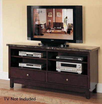 "Danville 07093 60"" Tv Stand Wit 2 Drawers 4 Open Compartments Black Marble Tpo Metal Hardware And Wood Construction In Walnut"