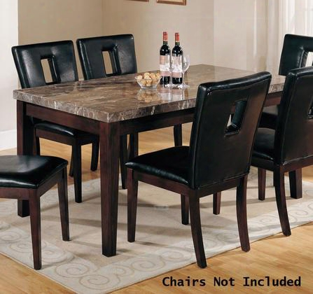 "Danville Collection 07058 64"" Dining Table With Black Marble Top Tapered Legs An Dmedium-density Fiberboard (mdf) In Walnut"