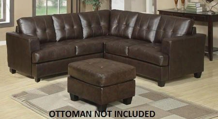 Diamond 50920 Sectional Sofa With Left Arm Facing Loveseat Corner And Right Arm Facing Loveseat In Brown Bonded