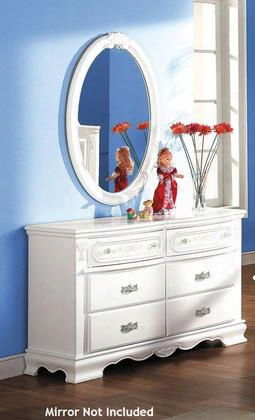 """Flora Collection 01685 52"""" Dresser With 6 Drawers Center Wooden Drawer Glide Felt Lined Top Drawer And Poplar Solid Wood Construction In White"""