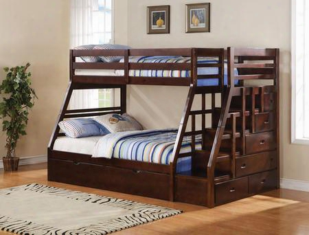 Jason Collection 37015 Twin Over Full Bunk Bed With 4 Drawer Storage Ladder Twin Size Trundle Supported Slats Pine Wood Materials And Medium-density