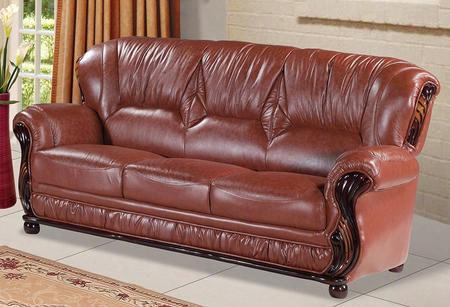 "Mina 639br-s 84"" Sofa With Top Quality Genuine Bonded Leather Upholstery Rich Mahogany Finish And Removable Backs In"