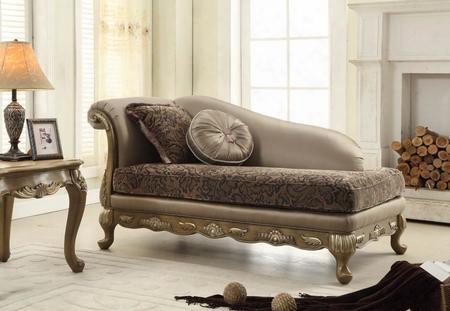 "Palmas 606ch 73"" Chaise Including Accent Pillows Solid Wood Hand Carved Designs And Removable Legs In Pewter"