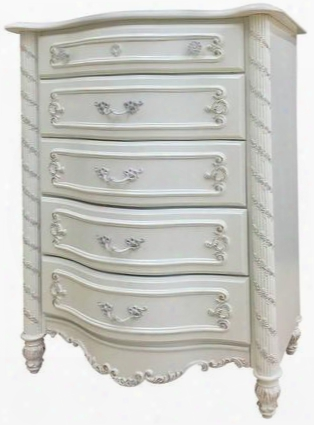 "Pearl Collection 01016 32"" Chest With 5 Drawers Decorative Carvings Center Metal Glide Drawers Metal Hardware And Poplar Wood Construction In Pearl White"