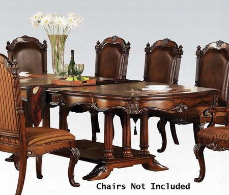 """Remington Collection 80"""" - 112"""" 60030 Dining Table With 2 Extendable Leaves Trestle Base Carved Apron And Poplar Wood Construction In Cherry"""