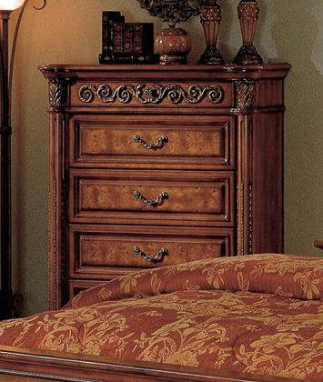 """Royal Royal-ch 44"""" Traditional 4-drawer Chest With Pilasters Decorative Hardware And Hand Carved Details In Dark Wood"""