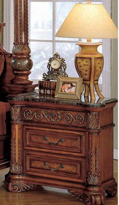 "Royal Royal-ns 32"" Traditional 3-drawer Nightstand With Marble Top Pilasters And Hand Carved Details In Dark Wood"